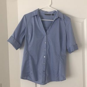 NY&Co 3/4 Length Sleeve Fitted Button Down - Blue